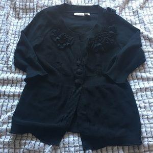 DKNY Jeans Black Sweater Cardigan Ruffle Detail